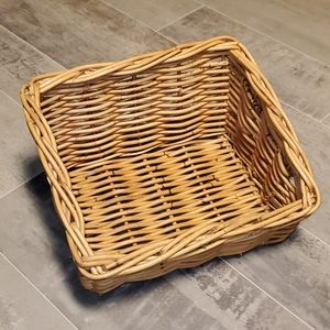 Vintage Large Woven Wicker Slanted Basket